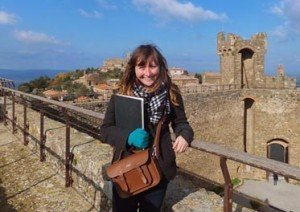 Kinsey on top of a fortress in Montalcino.