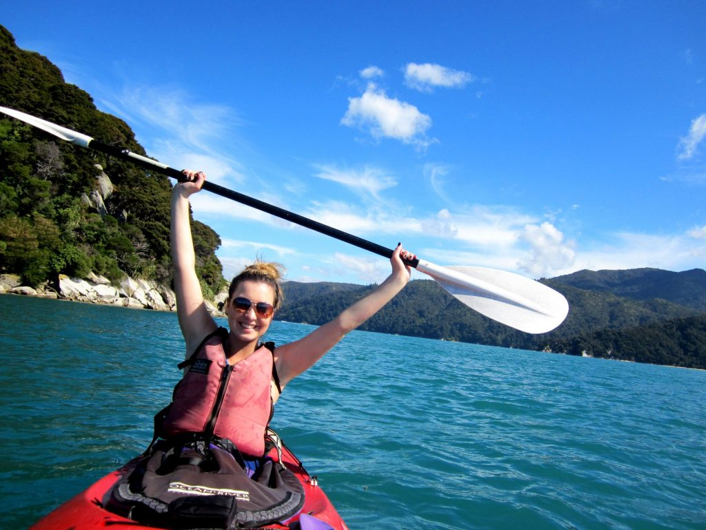 Rachel kayaks in New Zealand