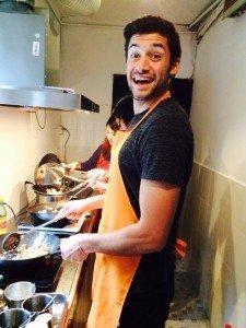 Justin in cuisine class
