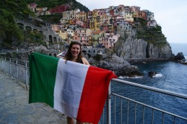 tricolor in front of manarola in cinque terre