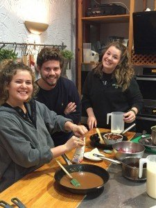 The professional cooks, starting from the left: Eden Schmidt (Point Loma Nazarene University), Cameron Engdahl (CSU Chico) and Sarah Campbell (U of Idaho).
