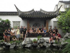 Shanghai students take a photo while exploring.