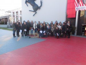 Students in Reggio Emilia attending a field trip to the Ferrari Museum.