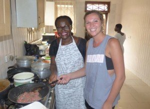 accra ghana cuisine workshop - Rachel Kapp (CSU, Chico) learning how to make meatballs