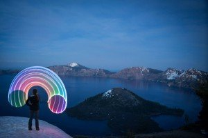 Crater Lake National Park, Oregon travel photography LED hula hoop road trip light painting