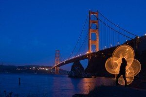 LED hula-hoop photography San Fransisco SF Golden Gate Bridge