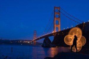 LED hula-hoop photography San Fransisco SF Golden Gate Bridge