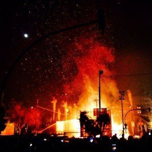 The burning of the creations for Las Falles begins. Valencia Spain