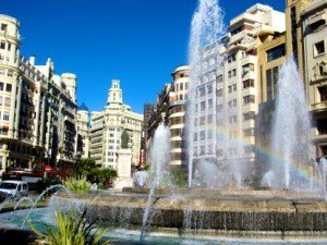 Valencia Spain fountain and architecture