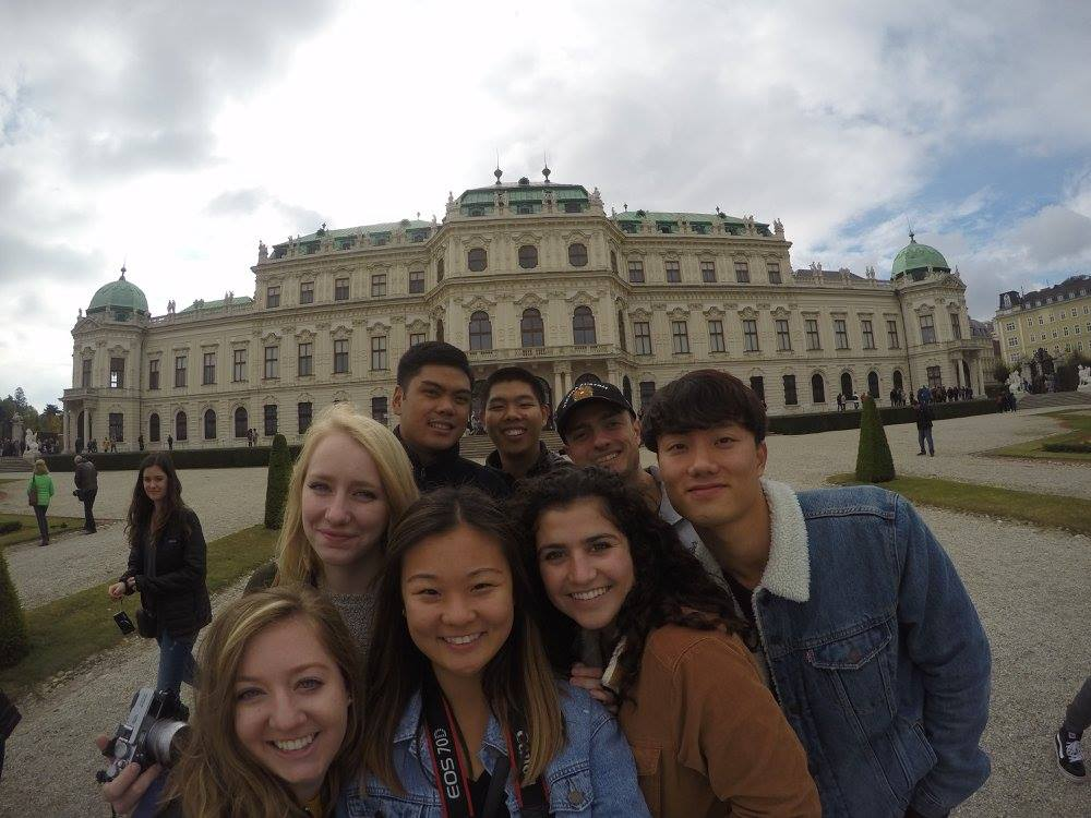 Prague students in front of the Belvedere Castle in Vienna