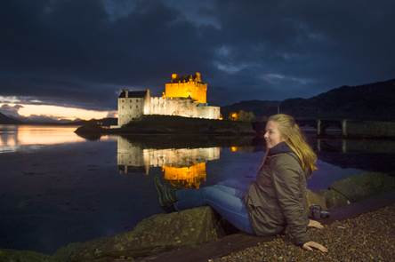 Scottish castle by night