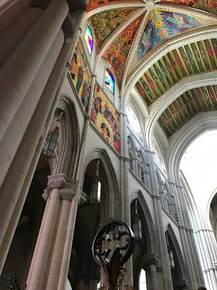 Stained glass in Madrid Catedral de Almudena
