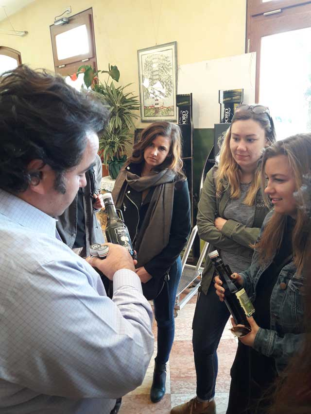 Learning about olive oil making process at Redoro Olive Oil Company in Italy