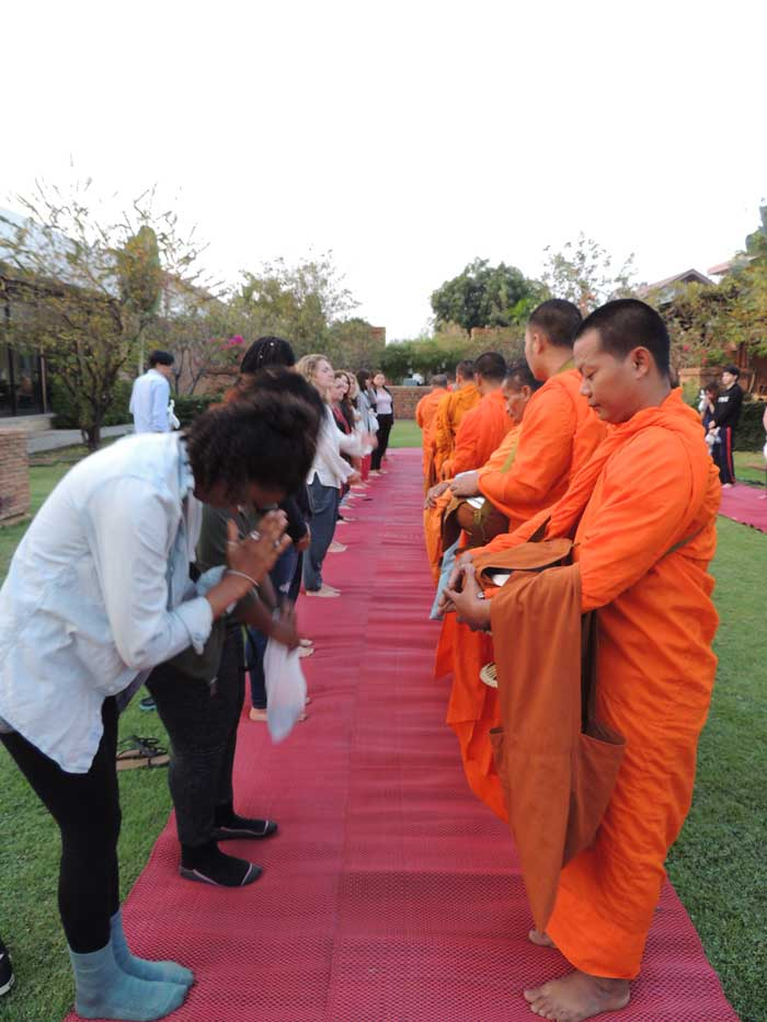 Giving wai to monks