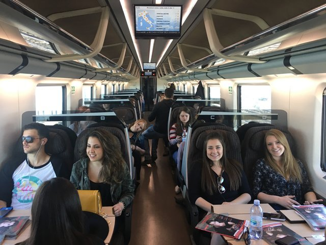 Students on the train to Venice