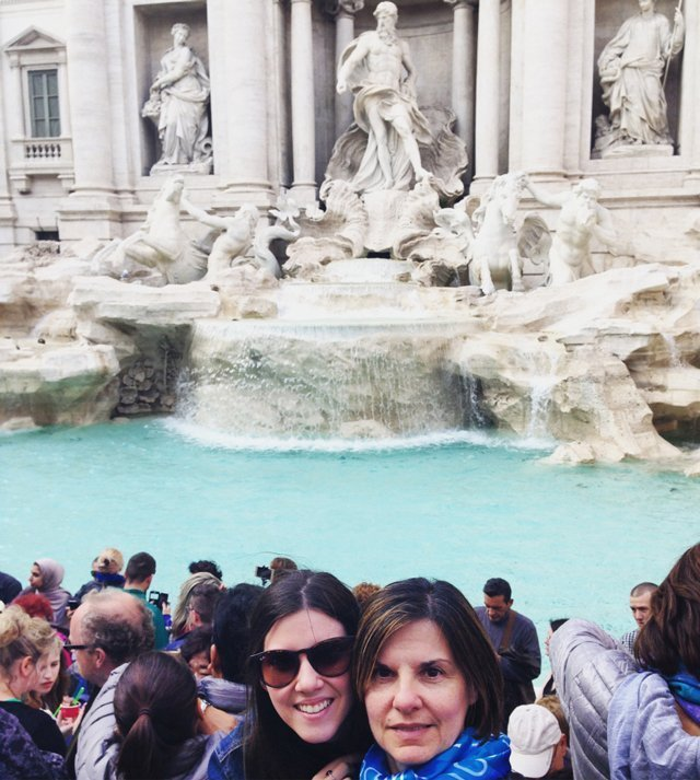 Mary and her mom at the Trevi Fountain in Rome