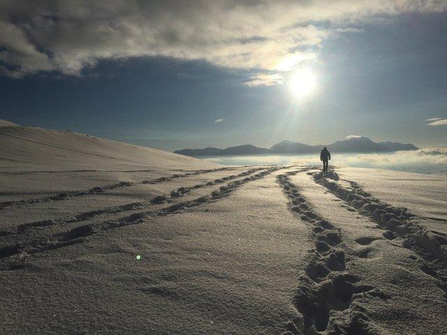 Walking in snow in Norway