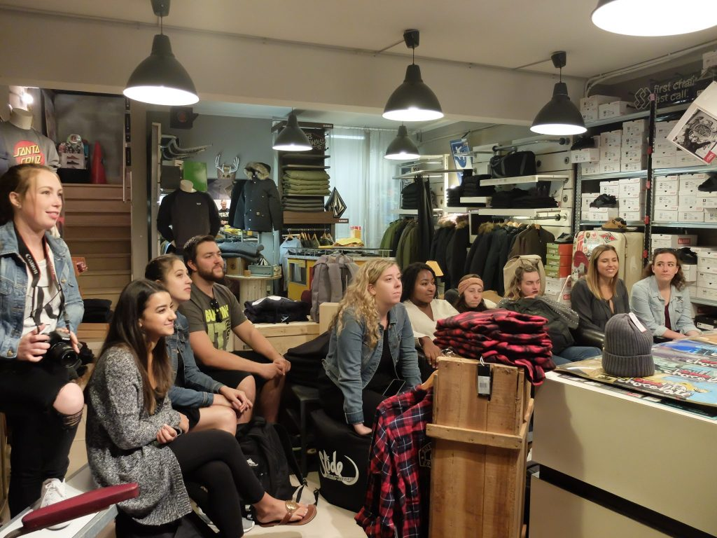 Students visit local stores during Fashion Marketing class