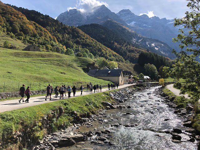 Students walk through the Pyrenees during an education abroad excursion through USAC