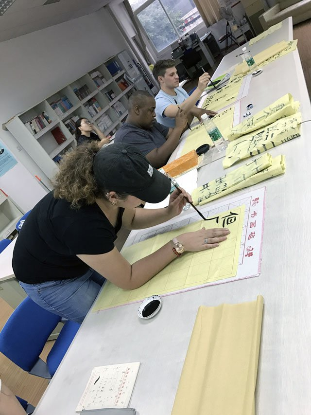 You can take calligraphy classes during your time in Chengdu, China