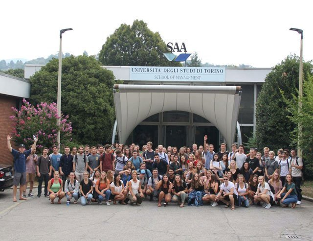 USAC students in front of SAA school in Italy