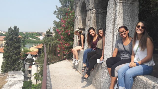 Students taking in the beautiful city views of Verona