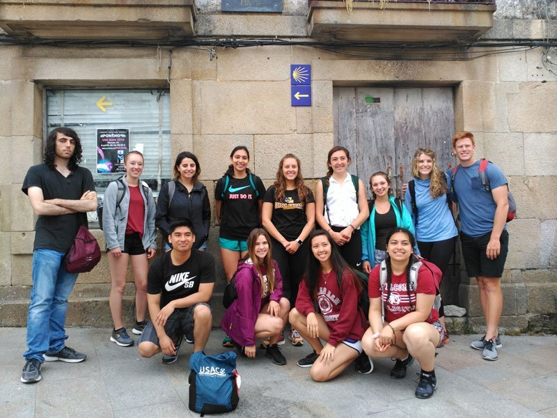 Group of USAC students getting ready to hike Camino de Santiago