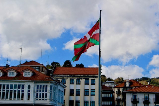 Basque flag hanging over the city