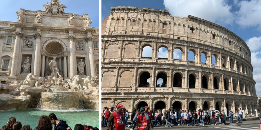 Trevi Fountain and the Colosseum in Rome