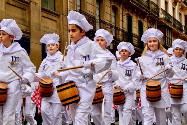 Local children drumming in the streets during Tamborrada