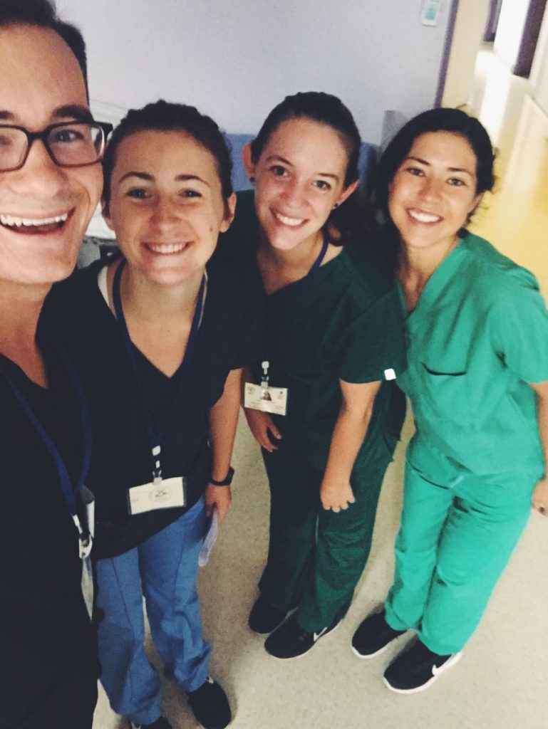 Students participating in a hospital internship in Costa Rica