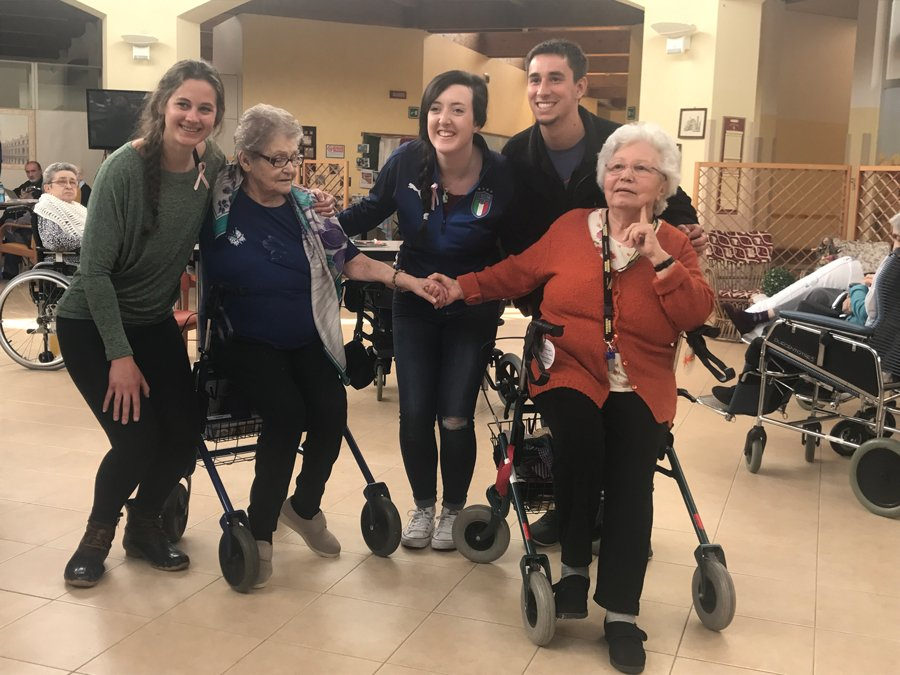 Students visit a retirement home in Reggio Emilia