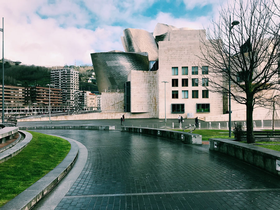 Outside of the Guggenheim in Bilbao