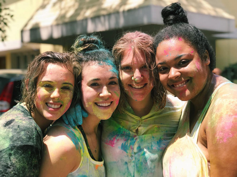 Students attend the Holi Festival in Bengaluru, India