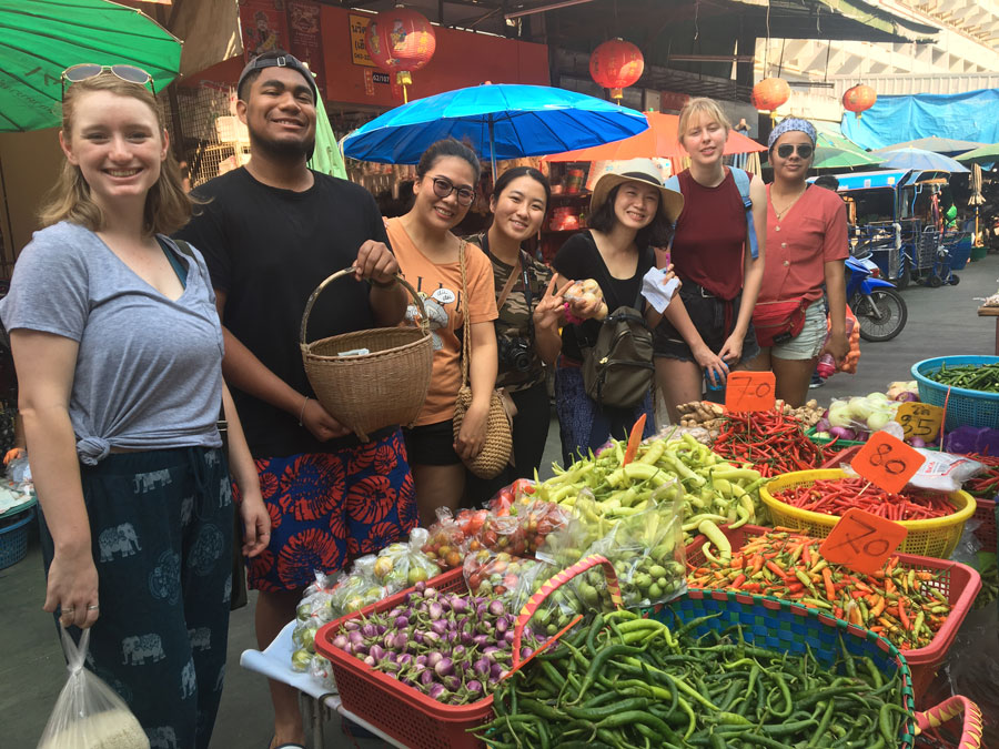 Students shop the local market in Khon Kaen, Thailand