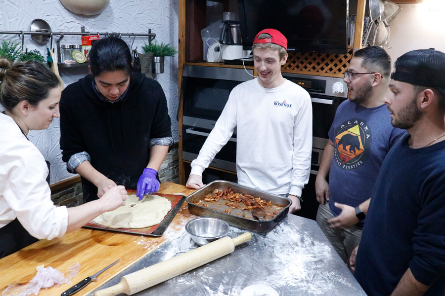 USAC Bilbao students learn how to cook traditional Basque cuisine in the Basque Cuisine class during a semester studying abroad in Bilbao, Spain