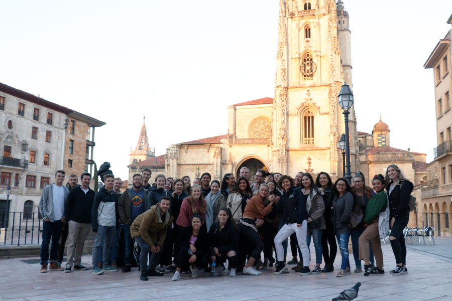 Students visit the city of Oviedo for a field trip during their semester studying abroad in Bilbao, Spain