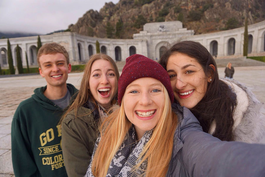 Students take a photo at Valle de los Caídos, Valley of the Fallen, during a field trip to Segovia on their study abroad in San Sebastián, Spain