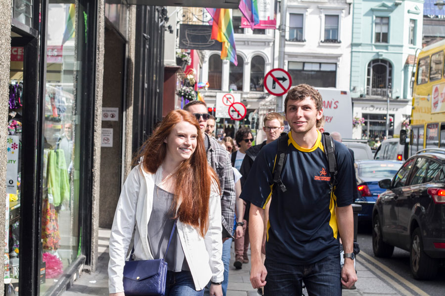 Students walking the streets of Dublin