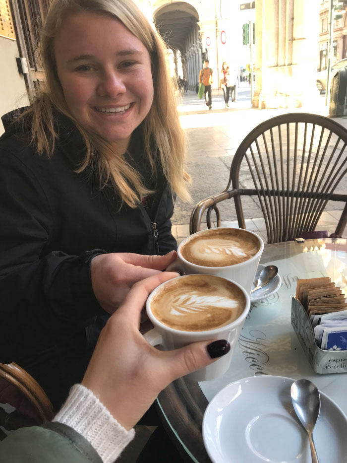 Drinking coffee at the local coffee shop in Torino