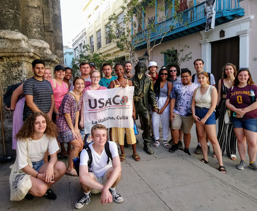 College students attending a study abroad in Cuba