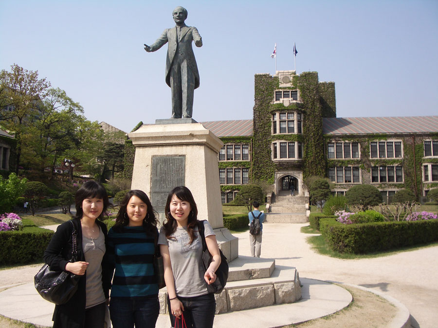 Students take a picture during study abroad in Korea at Kookmin University