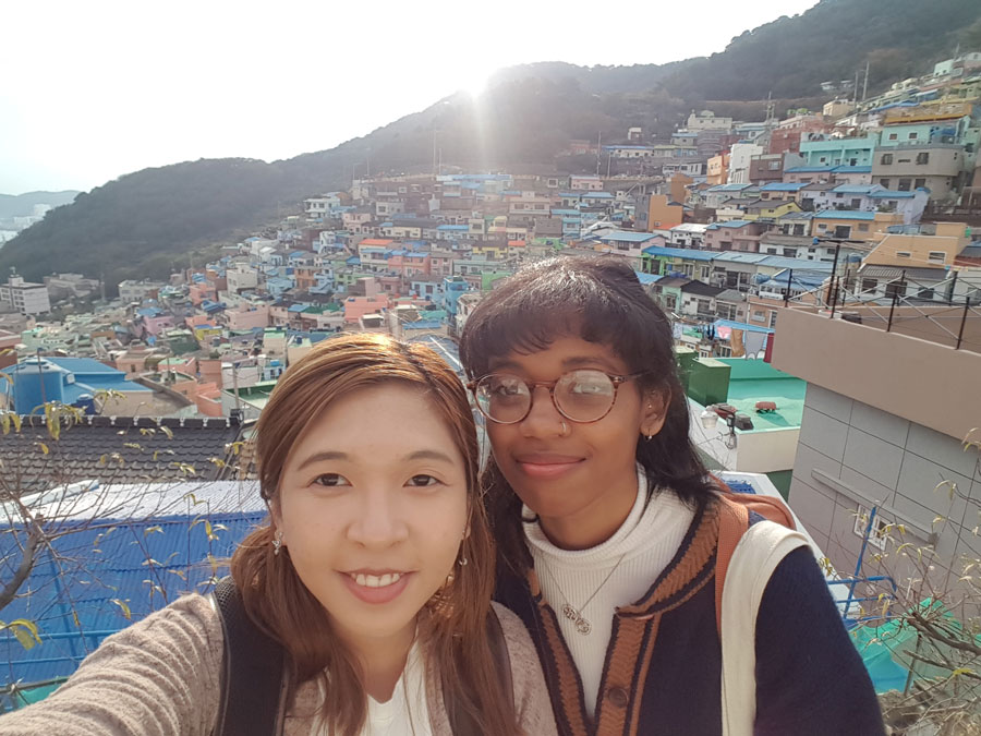 USAC Korea students on a field trip to Busan Gamcheon Cultural Village during study abroad in Korea
