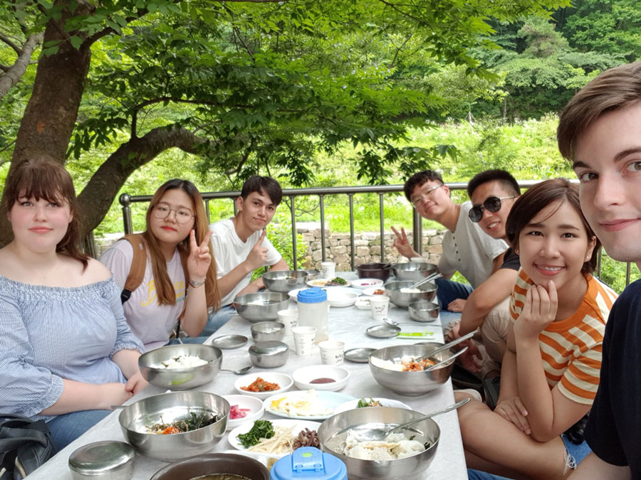 Study abroad students enjoy lunch in Gwangju, Korea