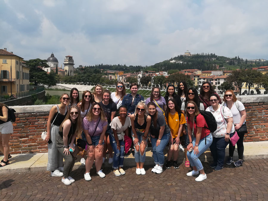 Getting a tour of the city of Verona during orientation of study abroad in Italy