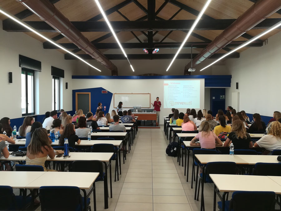 USAC students attending orientation in Verona during study abroad