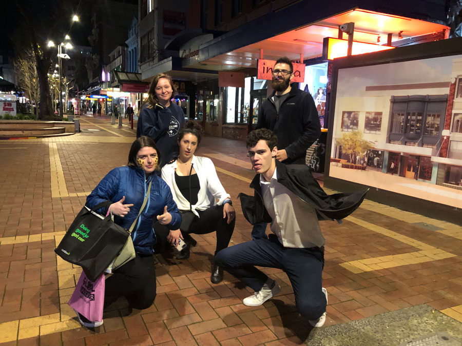 USAC study abroad students in Wellington, New Zealand on CUBA street
