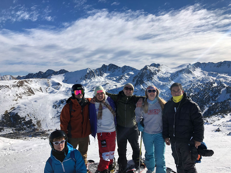 Students who are studying abroad take a trip to the mountains to go snowboarding in Europe