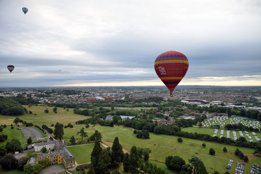 Bristol, England hot air balloon over the city