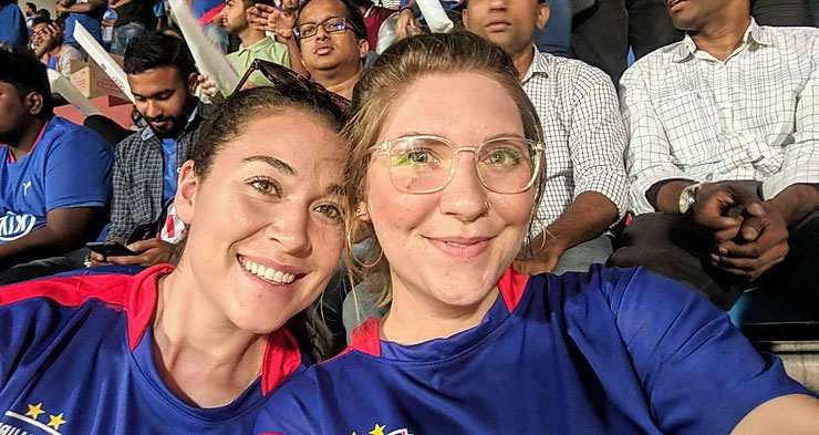 USAC students attend local soccer game during study abroad in Bengaluru, India